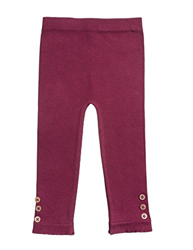 Silky Toes Infant, Baby, Toddler Knit Leggings, Cotton Pants with Side Button, (Burgundy, 2-4)