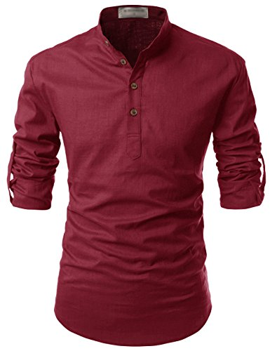 TheLees (NKN350 Transform Roll-Up Sleeve Mandarin Henley Neck Linen Shirts Wine US XS(Tag Size XS)