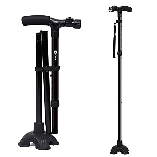 Muleta Plegable Ligero Muleta Ajustable para Caminar con Estable Base de Cuatro Patas y LED Linterna para Adultos Ancianos Hombre y Mujer(Una Manija) 🔥