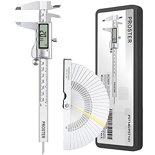 Proster Digitaler Messschieber 6Zoll/150mm + 32 Fühlerlehre Digital Schieblehre Elektronischer Meßschieber Zoll/Fraktionen/Metrisch Messschieber für Länge Breite Tiefe Innen-/ Außendurchmesser