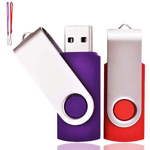 Lot de 2 Clé USB 64 Go Cle USB 2.0 Mémoire Flash Drive Clef USB Pivotantes avec Cordes Bon Cadeau pour Enfant Parents et Amis (64G, Rouge/Violet)