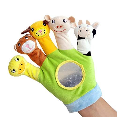 PENGLAI Fingerpuppen mit Cartoon-Tier-Motiv, Baby-Fäustlinge, pädagogische Puppen, Spielzeug-Handschuh, Baby-Puppe, Kinder-Handpuppen, Puzzle-Spielzeug Gr. Medium, grün