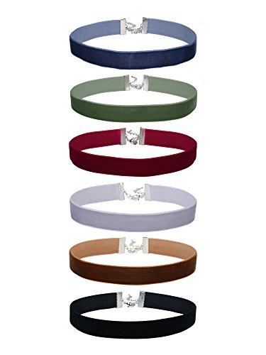 6/8 Pulgadas Collares de Terciopelo de Mujeres Gargantilla Conjunto de Collar de Cinta Clásico, 6 Piezas