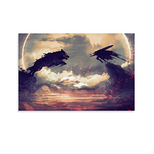huaduo Anime Berserk Guts Wolf Poster Decorative Painting Canvas Wall Art Living Room Posters Bedroom Painting 20x30inch(50x75cm)