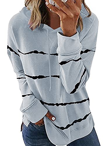 Biucly Womens Casual Tie Dye Striped Hoodies Sweatshirts Oversized Long Sleeve Drawstring Fall Winter Clothes Hooded Pullover Tops Hoodie Sweatshirt,US 16-18(XL),Grey