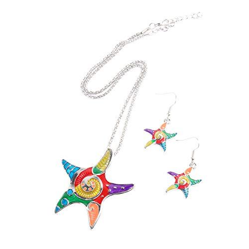 Tinksky Cadena de cuello de collar de cinco puntos estrella colgante collar con pendientes colgantes conjunto para la decoración de joyas, regalo para los amigos (plata)