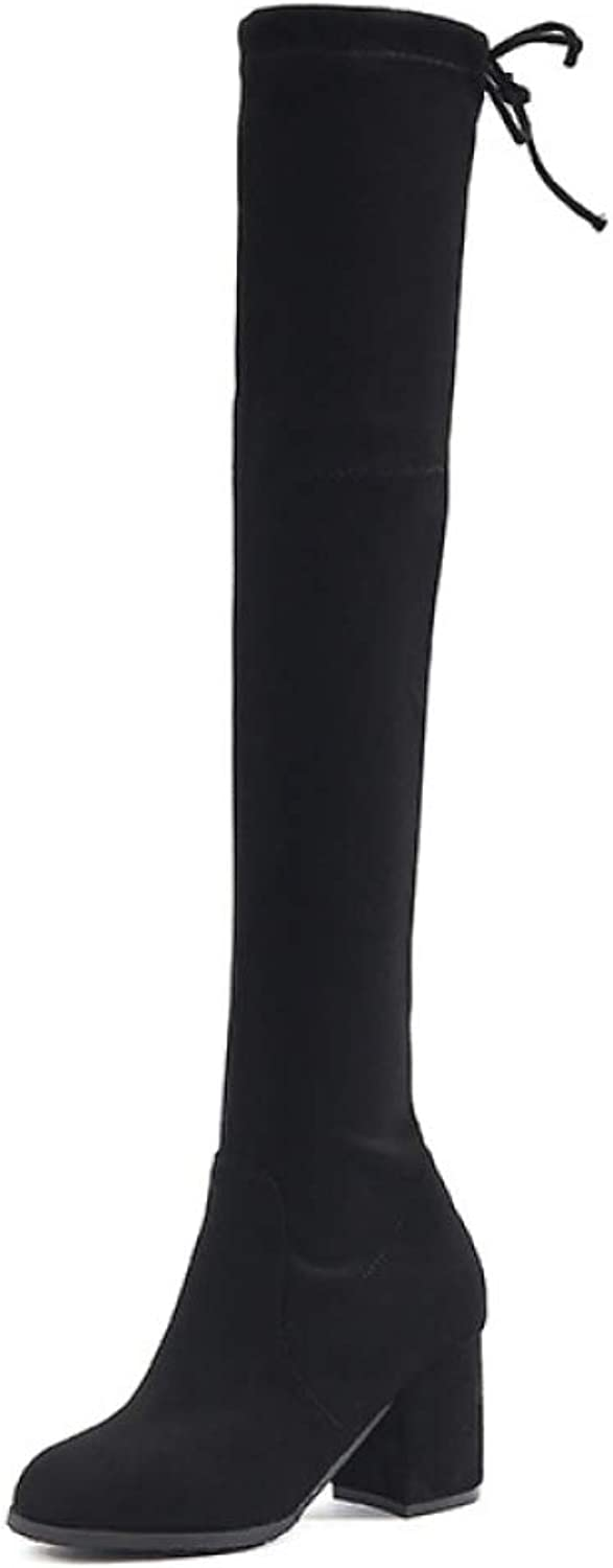 Womens Thigh High Over The Knee Mid Heel Block Heel Ladies Lace Up Boots shoes Size,BlackEU 39=8.5B(M) US