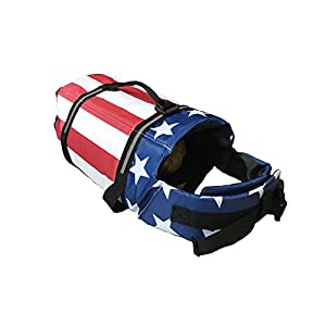 KING Pup Dog Life Jacket – American Flag Life Vest for Puppies and Dogs. Safe and Secure with Extra Padding and American Flag Design