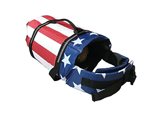 King Pup Dog Life Jacket, American Flag Life Vest for Puppies and Dogs. Safe and Secure with Extra Padding and American Flag Design (Large, Blue)