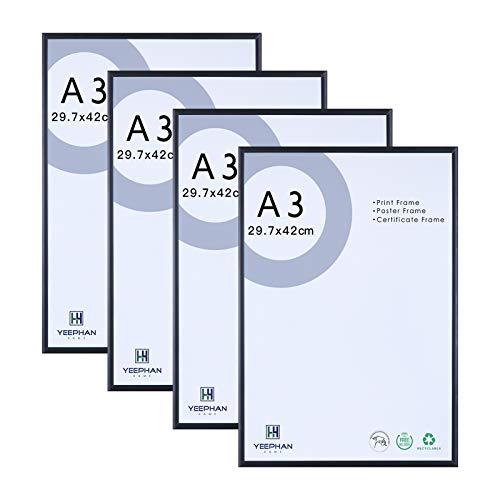 Cadre photo A3 métal aluminium lot de 4 avec façade en plexiglas pour montage mural,29.7x42cm cadre photo noir pour certificat poster décoration murale