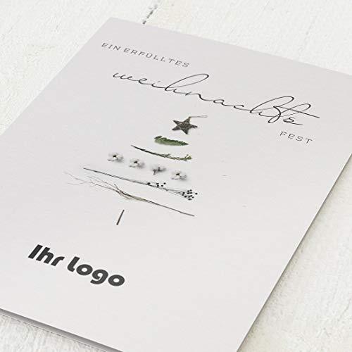 Firmen-Weihnachtskarten im Set, personalisiert mit Ihrem Firmenlogo & -text, Weihnachtsfreude, 12 Klappkarten, wahlweise mit Veredelung in Roségold, optional mit bedruckten Design-Umschlägen