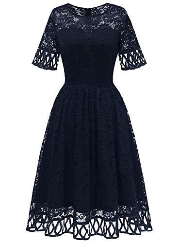 MuaDress Elegancka damska sukienka wieczorowa, krótka, odświętna, koronkowa sukienka do kolan, na wesele