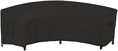 Linkool Outdoor Furniture Covers Patio Sectional Curved Couch Protector Black Waterproof Small Size 120x36x39 Inches for Half-Moon Sofa Sets