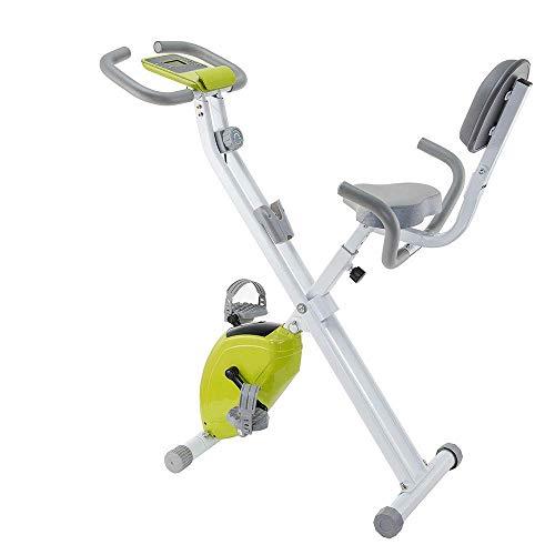DGHJK Mini Bicicleta estática giratoria para Interiores con Respaldo y Monitor LCD, Asiento Plegable y Ajustable, para Entrenamiento Cardiovascular y Entrenamiento de Fuerza