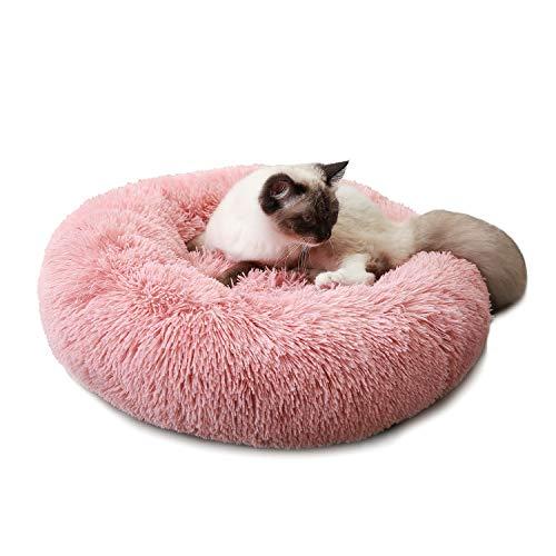 Cama para Perros Cama Redonda de Felpa Suave para Mascotas Almohada para Perros Sofá para Gatos Rosa 80cm