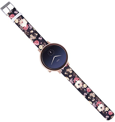 Band Compatible with Moto 360 2nd Gen Women,16mm Watch Strap Band Leather Compatible with Moto 360 2nd Gen (42mm Women Version) Luxury Colorful Floral Flower Texture