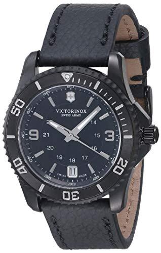 Victorinox Women's Maverick Stainless Steel Swiss-Quartz Watch with Leather Strap, Black, 18 (Model: 241788)