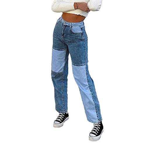 L&ieserram Damen Patchwork Jeans High Waist Stretch Cutoffs Distressed Straight Leg Denim Jeans Hose 70er Vintage E-Girl Style Y2K Schlagjeans Hose (B Blau, L)