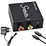 Snxiwth 192kHz Audio Konverter Wandler Digital (Toslink und Koaxial) zu Analog (Cinch) Noise Reduction Design Digital zu Analog Audiowandler Decoder mit Netzteil und Toslinkkabel - Schwarz