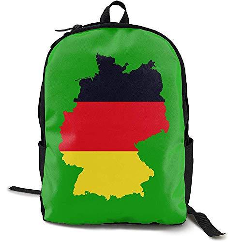 Deutsche Flagge auf detaillierter Deutschland-Karte Adult Herren & Damen Unisex Outdoor Funny Style Umhängetasche