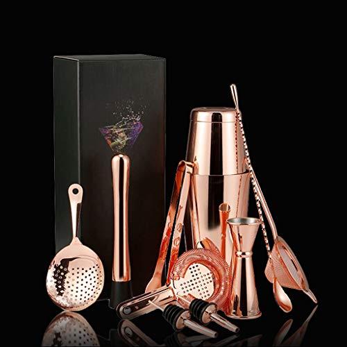 LKYBOA Juego de coctelera, 11 piezas para batidora de vino de acero inoxidable, accesorios para fiestas de bebidas en el hogar (color A: A)