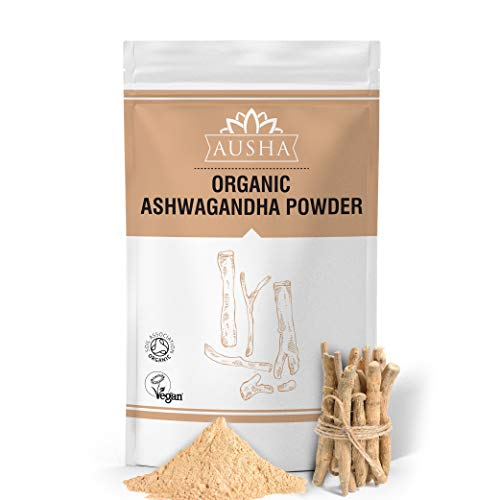 AUSHA Organic Ashwagandha Powder 500g | Certified Organic by Soil Association | Sleep Aid,Stress & Anxiety Reduction,Energy Increase,Overall Wellness