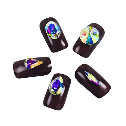 DONGZHOU 50PCS Multi Shapes Nail Crystals AB Rhinestone Nail Art 3D Crystal Gemstones Nail Rhinestone Pointed Fancy Glass stone Gems For DIY Nail Art, Decorations Crafts