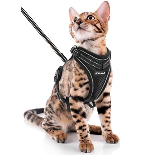 SCIROKKO Cat Harness and Leash Set - Escape Proof Adjustable Puppy Harness for Outdoor with Reflective Strap, Soft Mesh with Metal Clip Cat Walking Jacket for Kitten Rabbit