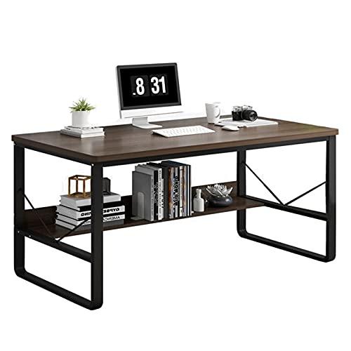 Escritorio de computadora Escritorio de oficina en casa con estante de almacenamiento Mesa simple moderna para estudiar, trabajar, escribir, juegos Estación de trabajo del ordenador portátil de la PC