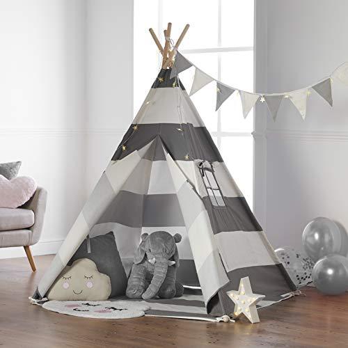 Haus Projekt Tipi Zelt Für Kinder mit Lichterkette, Wimpelkette, Aufbewahrungstasche & Bodenmatte – Kinderzimmer Spielzelt 100% Baumwoll, Teepee für drinnen/draußen (Grau/Weiß 160cm hoch)