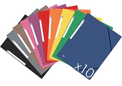Oxford Top File+ Carpeta con gomas - Tapas de cartón con gomas y 3 solapas, A4, pack de 10 unidades, colores vivos, 10 colores surtidos