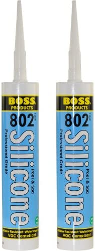 2-Pack Boss 802 Clear Pro Grade Silicone Sealant for Pool, spa, Household - 2 x 280ML. Tubes