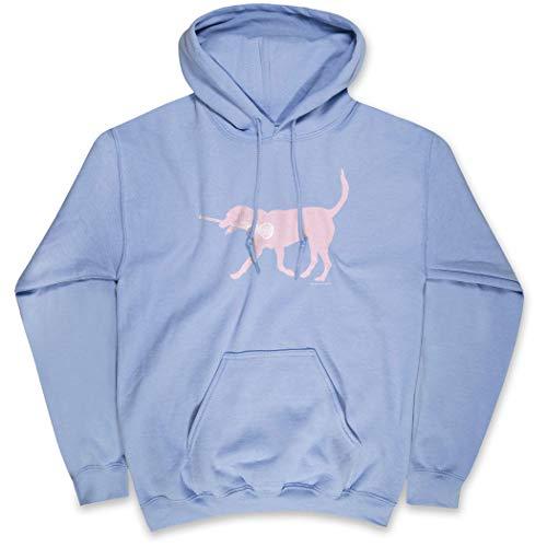 Girls Lacrosse Hooded Sweatshirt | LuLa The Lax Dog Pink | Carolina | Adult MD