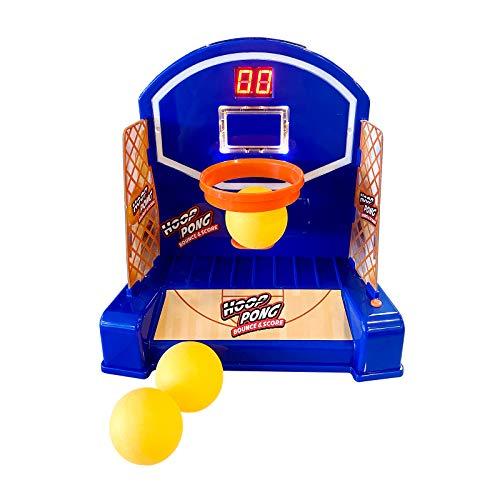 Cife Arcade Games Hoop Pong-Mini Canasta interactiva Que se Mueve, con Diferentes Niveles de dificultad, luz y Sonido y Contador Digital, Color Azul Marino con Zonas Naranjas (42024)
