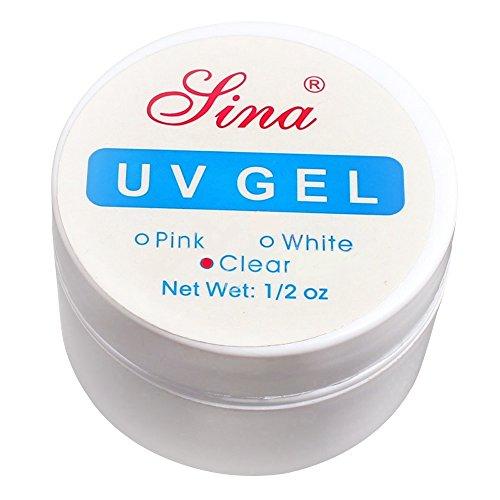 Bluelans Gel UV Nail Art Colle Manucure Rose Blanc Transparent