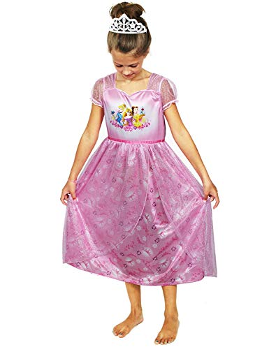 Disney Princess Girls Fantasy Nightgown Pajamas (8, Princess Pink)