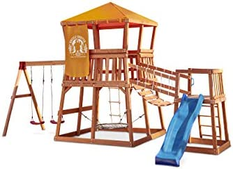 Little Tikes Real Wood Adventures Grizzly Grotto Wooden Swing Set and Outdoor Playhouse for product image