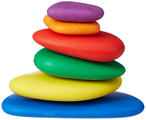 edx education 54047 Rainbow Pebbles (Pack of 36 Sorting and Stacking Stones)