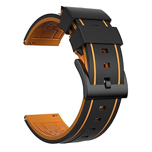 Ullchro Bracelet Montre Remplacer Silicone Bracelet Montre - 20, 22, 24, 26mm Caoutchouc Montre Bracelet avec Acier Inoxydable Boucle Argent (26mm, Orange & Black)