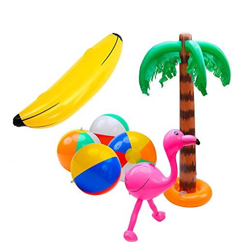 7PCS Aufblasbar Spielzeug Set, Aufblasbar Palme Baum Flamingos Spielzeuge Wasserball, Badeball & Schwimmball, Aufblasbare Banane Rosa Aufblasbare Flamingos für Luau Party Dekor Strand Deko
