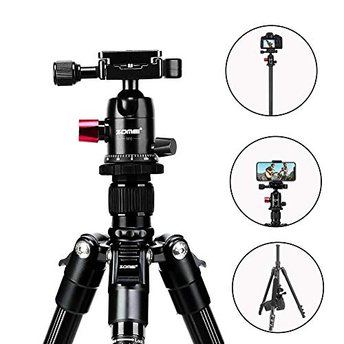 BAIPAK M6 Camera Tripod,64'' Aluminum Tripod for Photography with 360 Degree Flexible Ball Head,Camera Tripod for Canon Nikon Sony DSLR,Detachable Monopod,Compatible with iPhone & Android Phone