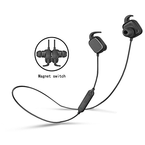 Bluetooth Headphones,Wireless Headphones Sports Wireless Bluetooth 4.1 Extra Bass Headsets with Magnetic Switch Noise Cancelling/Apt-X Waterproof (Black)