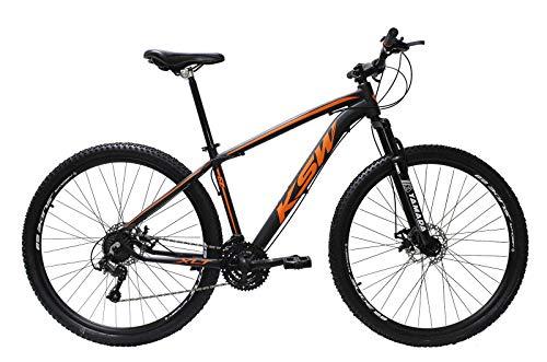 Bicicleta Aro 29 Ksw Alumínio 24 Marchas Freio A Disco (Preto/Laranja, 19)