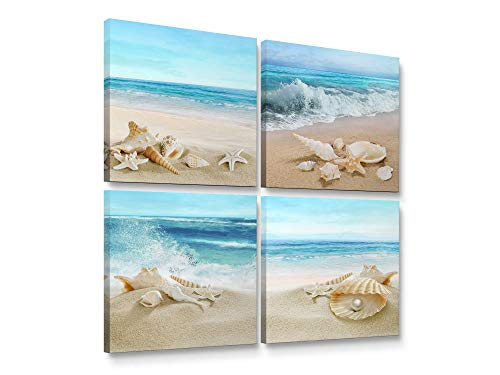 Niwo ART - Seashell Starfish on Beach, Modern Seascape Canvas Wall Art, Contemporary Home Decor, Gallery Wrapped, Stretched, Framed Ready to Hang (12'x12'x3/4')
