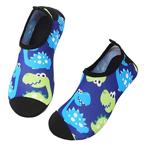 JIASUQI Baby Kleinkind Sommer Barfuß Wasser Haut Schuhe Strand Sandalen Für Schwimmbad Grüner Dinosaurier, 22/23 EU