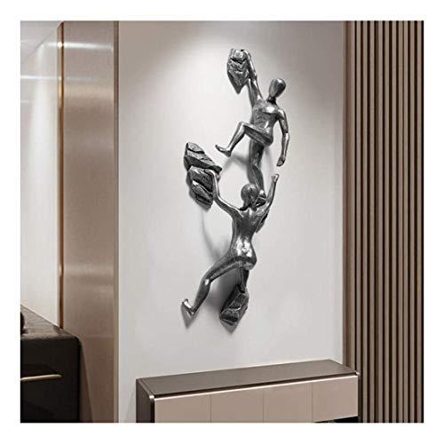 Living Equipment Skulptur 3D Klettern Figur Dekorationen TV Hintergrund Wandhandwerk Wohnzimmer Schlafzimmer Anhänger (Farbe: Silber)