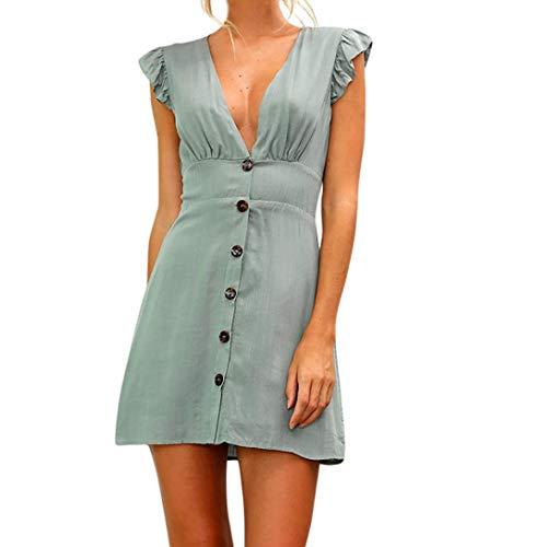 Dam sommarklänning miniklänning ärmlös V-ringning enfärgad bekväma storlekar sommarklänningar eleganta trendiga vackra kläder A-linje strandklänning vardagsklänningar
