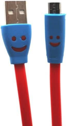 4 Pack 3ft Smiley Face Flat Noodle Micro USB Connector Data Cable w LED Light 2 Duo USB Car product image