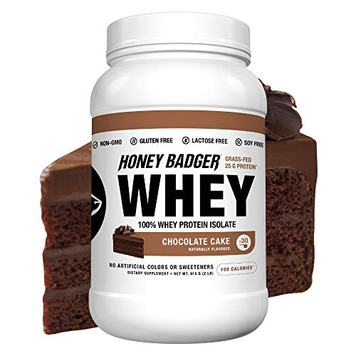 Honey Badger Natural Keto 100% Whey Protein Isolate (BCAA, Amino Acids, Digestive Enzymes, Grass-Fed, Hormone Free, Post Workout, Recovery, Naturally Flavored, 2 Lbs, Non-GMO)