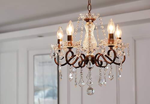 lampadario camera da letto grande Lampadario in cristallo Saint Mossi 5 bracci/luci E14 Lampada base ruggine artigianale vintage